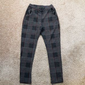 PLAID LEGGING TROUSERS WITH POCKETS